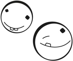 Zwei gut gelaunte Kreis und Kreise Emojis